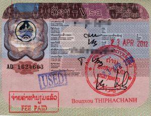 Visuel d'un visa pour le Laos d'une durée de un mois