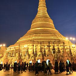 Pagode Shwedagon de Yangon à la nuit tombée
