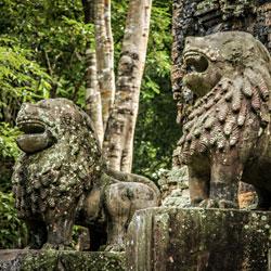 Sculpture de lions dans l'ancienne capitale du Chenla Sambor Prei Kuk