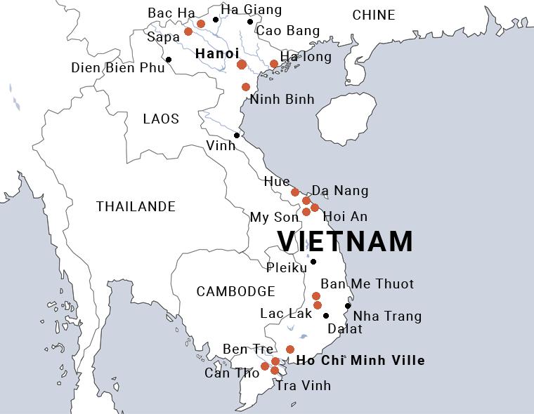 Carte Vietnam voyage cultures