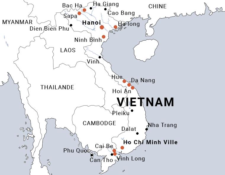 Carte du Vietnam en 15 jours