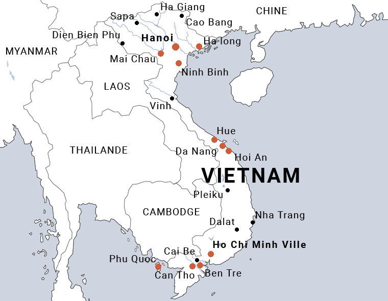 Carte du Vietnam de Ha Long à Phu Quoc en 16 jours