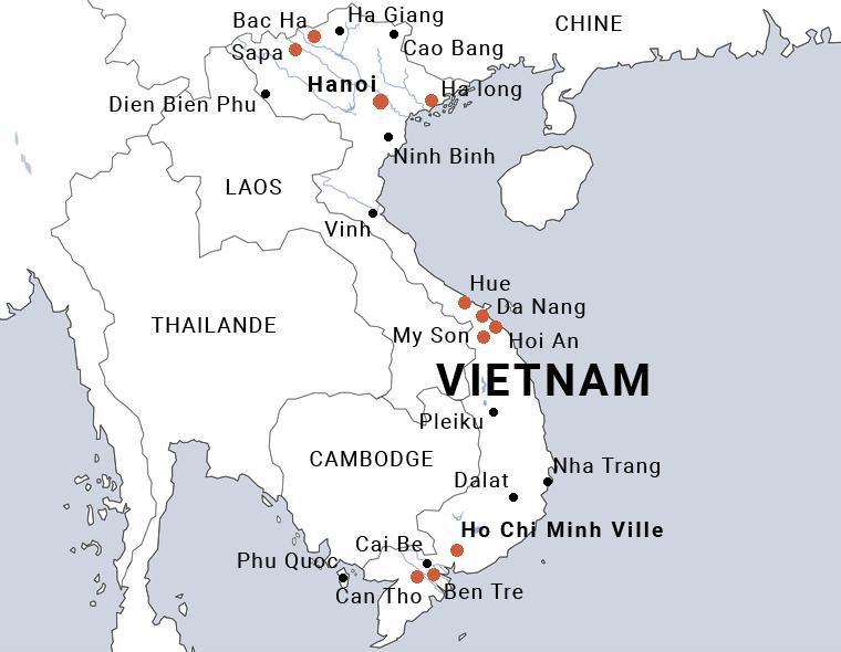 Carte du Vietnam en petit groupe du nord au sud
