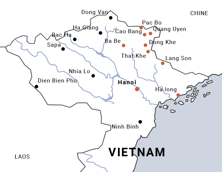 Carte de la bataille de Cao Bang, la RC4 au nord Vietnam