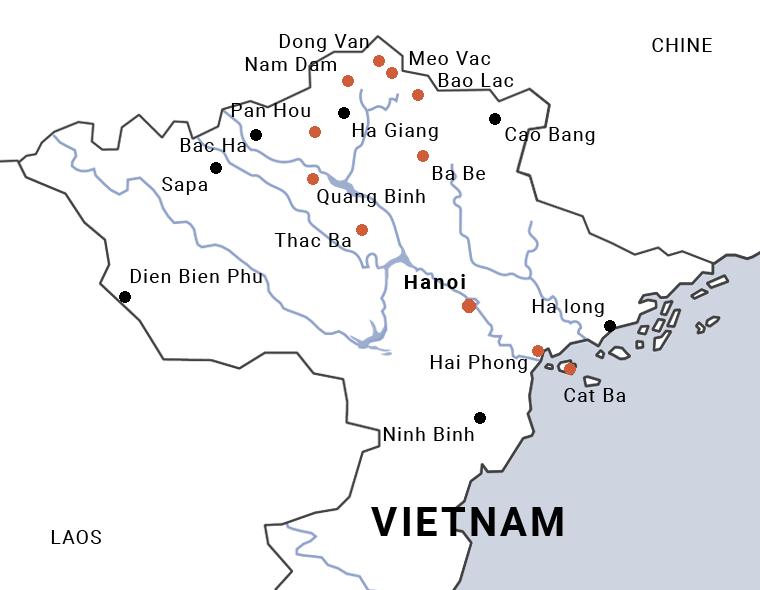 Carte du Vietnam voyage dans la province de Ha Giang