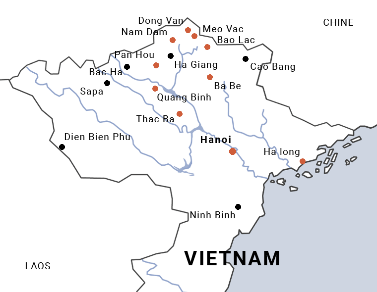 Carte du Vietnam en petits groupes au nord