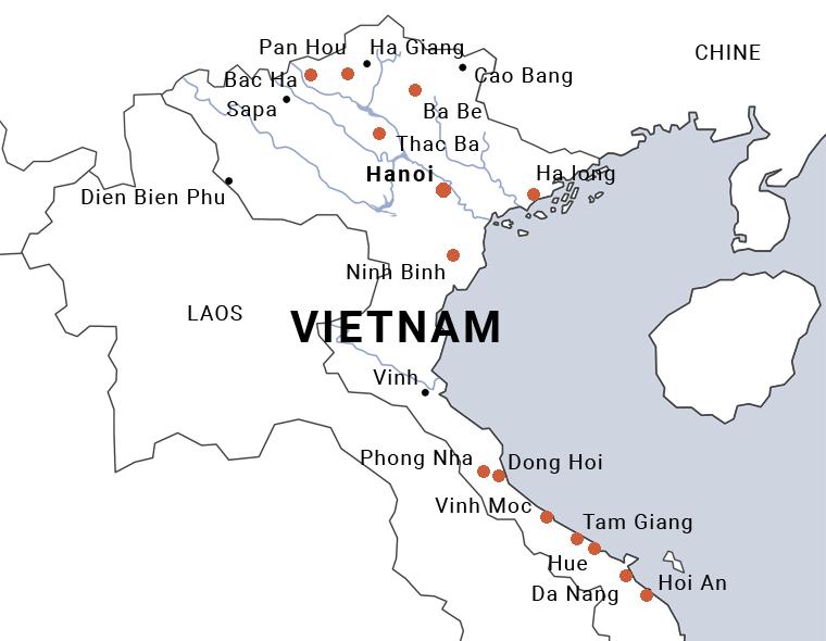 Carte du Vietnam lagunes du centre Vietnam à Tam Giang