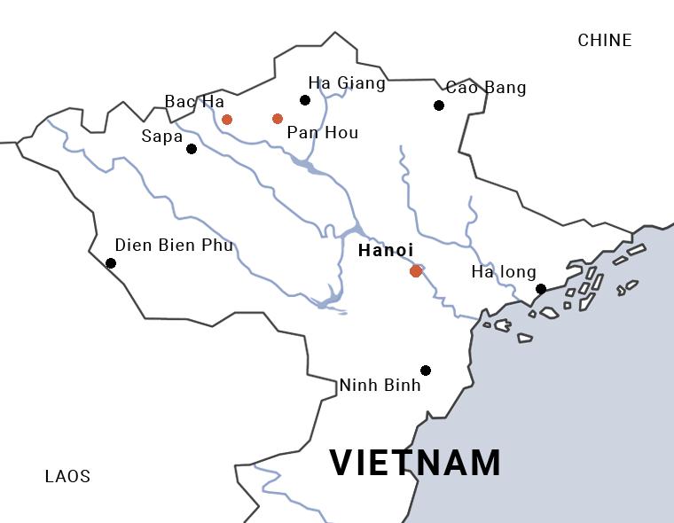 Carte du trek de Bac Ha à Pan Hou au Vietnam