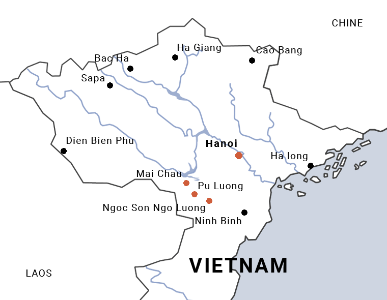 Carte du trek de Pu Luong à Ngoc Son Ngo Luong au Vietnam