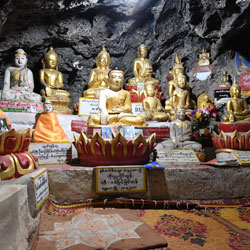 Les statues bouddhiques dans les grottes de Pindaya