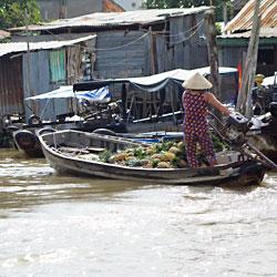barque remplie d'ananas sur le marché de Cai Rang à Can Tho