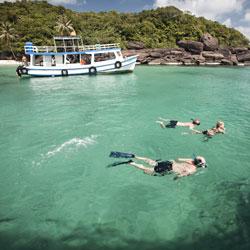 Plongée sur l'île balnéaire de Phu Quoc au sud Vietnam