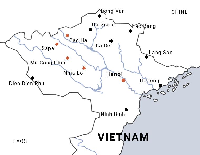 carte du Vietnam de Hanoi à Sapa en moto