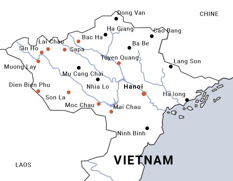 Itinéraire du voyage à Dien Bien Phu à moto