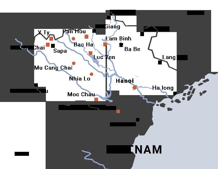 carte du voyage de Hanoi à Y Ty à moto par carnets d'asie