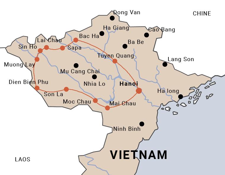 carte du voyage à moto à Dien Bien Phu au Vietnam
