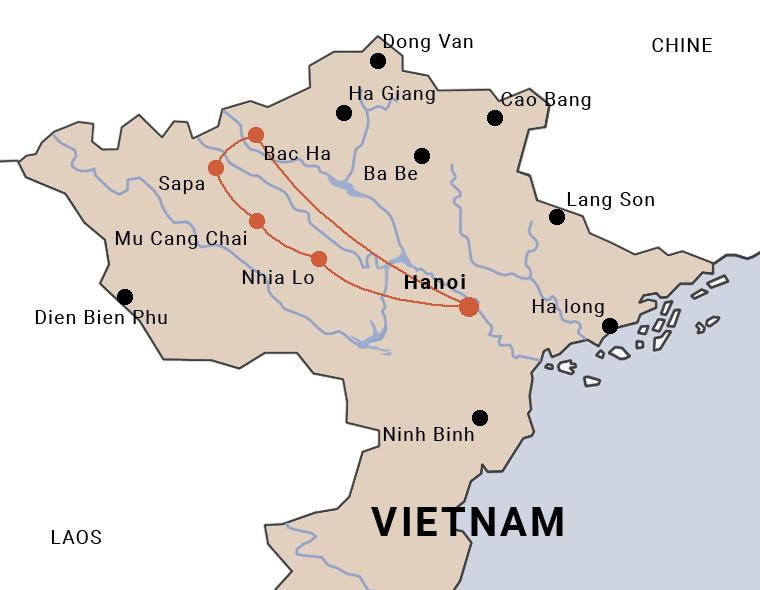 carte du trip à moto au Vietnam de Hanoi à Sapa