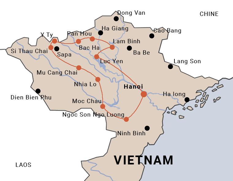 itinéraire du voyage à moto au Vietnam la route des cardamomes