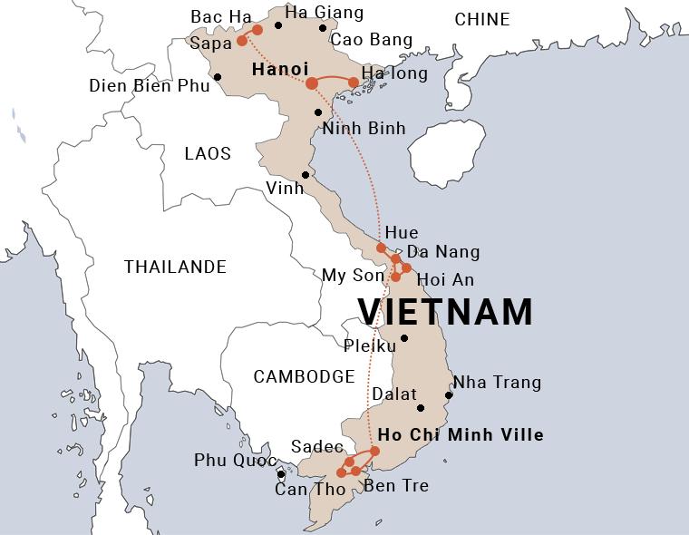 carte du voyage en petit groupe du nord au sud Vietnam