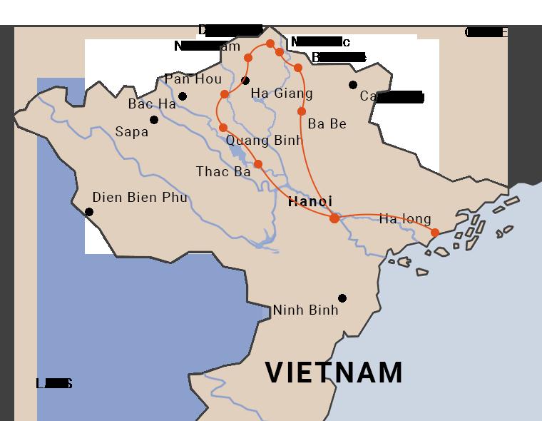 carte du voyage en petits groupes au nord Vietnam