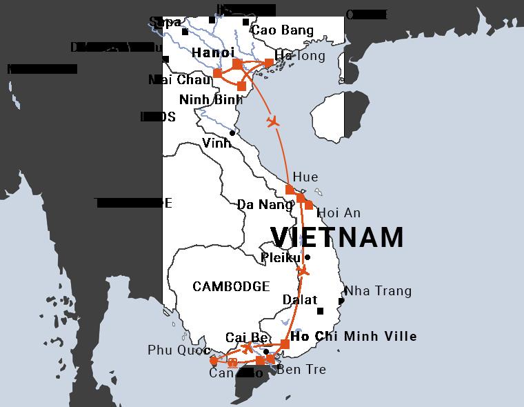 Circuit balnéaire au Vietnam